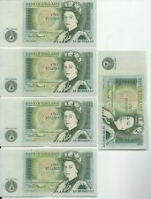More details for 5 x one pound note £1 somerset bank of england uncirc newton consecutive numbers