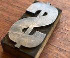 Antique printing WOOD TYPE block - Dollar sign money symbol cash currancy