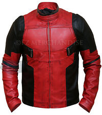 Dead-pool Wade Wilson Ryan Rynolds Red Leather Jacket