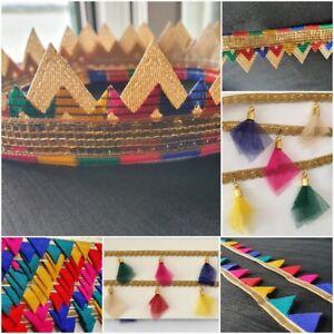 1x Yard Multi Colour Drop Net Tassel Braided Ribbon Lace Craft Trim Sewing Decor