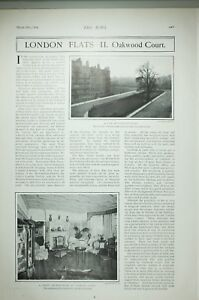 1904 PRINT OAKWOOD COURT VIEW OF DRAWING ROOM LONDON FLATS