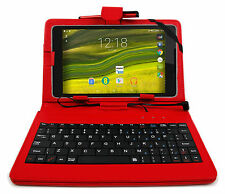 Red Faux Leather Case with Micro USB Keyboard for Haehne 7 Inch Google Tablet PC