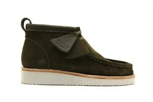 NEW MEN CLARKS WALLABEE HIKE OLIVE COMBI GREEN SUEDE LEATHER LACE SHOES BOOTS