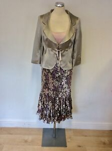 FENN WRIGHT MANSON PALE PINK,BROWN & SILVER PRINT DRESS AND JACKET SUIT SIZE 12
