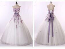NEU Spitze Weiß/Ivory Lila Hochzeitskleid Brautkleid Gr:32 34 36 38 40 42 44