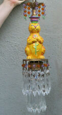 Pendant Brass vintage lamp CAT Porcelain Deco Stl Purple Beaded crystal Prisms