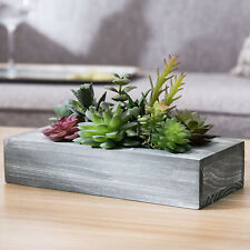 MyGift Assorted Faux Succulent Potted Plant Arrangement in Gray Wood Planter Box