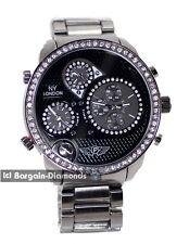 mens big 3 time zone black sports dress watch ice out black dial link bracelet