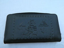 Egyptian Leather Women Lady Black Clutch Wallet Purse Card Holder Pyramid #888