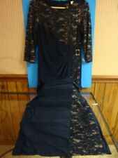 R & M Richards full length fancy dress, Navy with lace/cream underlay, size 8