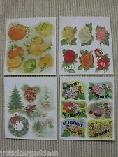 Lot o 4 80s Vtg Scratch & Sniff Stickers Roses Flowers Fruit Pine Christmas Bees