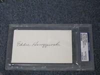 Ed Hanyzewski Autographed 3x5 Index Card PSA Certified Encapsulated