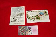 Bonne année , Joyeux Noel - lot de 2 cartes postales fantaisies et une carte