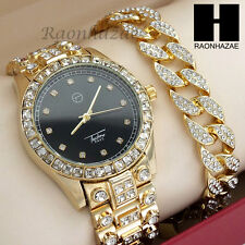 Men Lil Wayne Hip Hop Lab Diamond Gold Watch & Iced Out Cuban Bracelet Set W191G