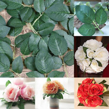 50 Springs 150 Rose Leaves Artificial Silk Green Leaf Wedding Craft Buttonhole