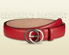GUCCI red leather 40-100 2-tone metal INTERLOCKING G buckle Slim belt NWT Authen