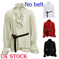 Men Vintage Ruffle Collar Shirt Tunic Steampunk Gothic Victorian Cosplay Costume