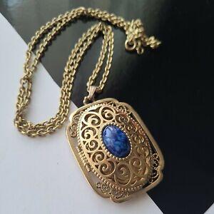 """Vintage AVON Gold Tone Locket Pendant 2.25"""" T Chain Necklace 28""""L"""