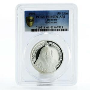 Lithuania 50 litu The Grand Duke Gediminas PR69 PCGS silver coin 1996