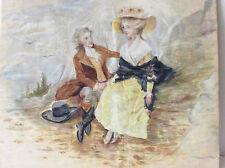 Peinture sur soie scène galante fin XVIII attribuée à Laurence Colas vers 1900