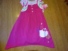 Hello Kitty Girls Dress Size 4 Pink/White/Green Sleeveless Nwt