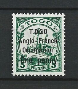 DR WWI Germany Colonies TOGO Rare WW1 Stamp 1914 Overprint Anglo-French Occup