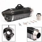 Motorcycle Exhaust Muffler Pipe Dirt Bike ATV Carbon Fiber 2 Holes Outlet 51mm