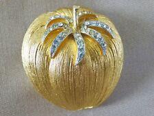 VINTAGE  COROCRAFT TOMATO BROOCH PIN SIGNED GOLD TONE & RHINESTONES FUN & PRETTY