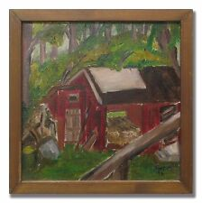 RED SHED IN THE WOODS - Original Swedish Oil Painting