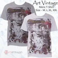 Men's Printed T Shirt Art Vintage Soft & Durable 100% Cotton Size M L XL XXL UK