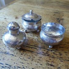 VINTAGE CHINESE  SILVER CONDIMENT SET 3 pieces (PM)