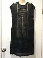 New With Tags $389 LEE MATHEWS Black Linen Ladder Dress Size 4 (14) #13085
