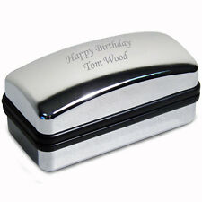 Personalised Silver Polished Cufflink Gift Box - Engraved Free - Birthdays, Dad