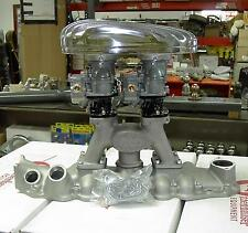 NOS Eddie Meyer 8bA Ford Mercury flathead intake + new strombergs + Air cleaner