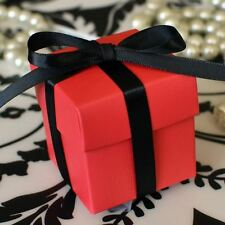 10 Berry Red Favor Box with Lid Wedding Baby Shower Container Party Decoration