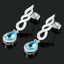 Rhinestone 18K White Gold Plated Zirconia Pear Aquamarine Drop Tear Earrings