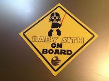 """Bébé à Bord Star Wars """"BABY SITH ON BOARD"""" Imperméable Vinyle Autocollant Voiture"""