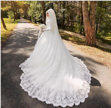 Muslim Luxury Beautiful 80cm Long Trail Long Sleeve Hijab Wedding Dress Custom