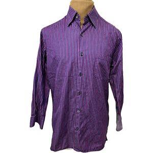 Ermenegildo Zegna Men's Dress Shirt Pink Purple Striped Made in Italy Size Large