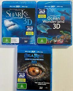 3x Blue Ray IMAX 3D or 2D Ocean Wonderland, Sharks, Sea Rex Dinosaurs NEW/SEALED