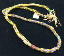 Antique African Italian Trade Bead Necklace #5 Yellow Rust Green 62 Beads OLD