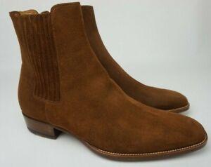 Saint Laurent Brown Suede Wyatt Men's Chelsea Boots Size 41