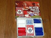 Bicycle Poker Chip Set 2 Decks Playing Cards 200 Poker Chips, LN, Made in USA
