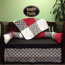 4pc Standard Crib Bedding Set - Grey Jolly Roger Skulls/ Red