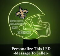 New Orleans Saints Night Light Lamp Personalized FREE NFL Football Light Up