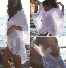New Women Beachwear Swimwear Bikini Beach Wear White Lace Blouse Dress Clothes