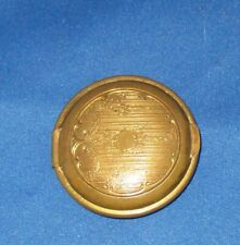 ANTIQUE OLD BRASS ROUND COMPACT / PILL BOX