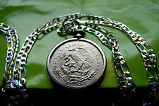 "1950-1953 MEXICAN EAGLE COIN SILVER QUARTER Pendant on a 30"" .925 Silver Chain"