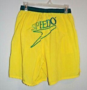 vintage speedo mens size m yellow nylon swimming trunks w/ logo in back