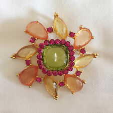 New Pink Flower Peach Lucky Fortune Crystal Round Crystals Brooch Pin BR1076